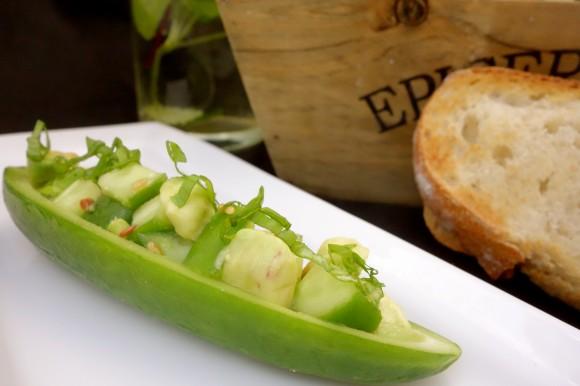 cucumber boat  cucumber and avocado salad