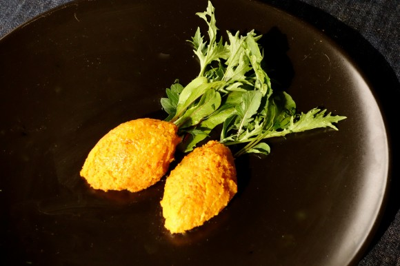 leftovers? quenelles of carrot soufflé with green salad